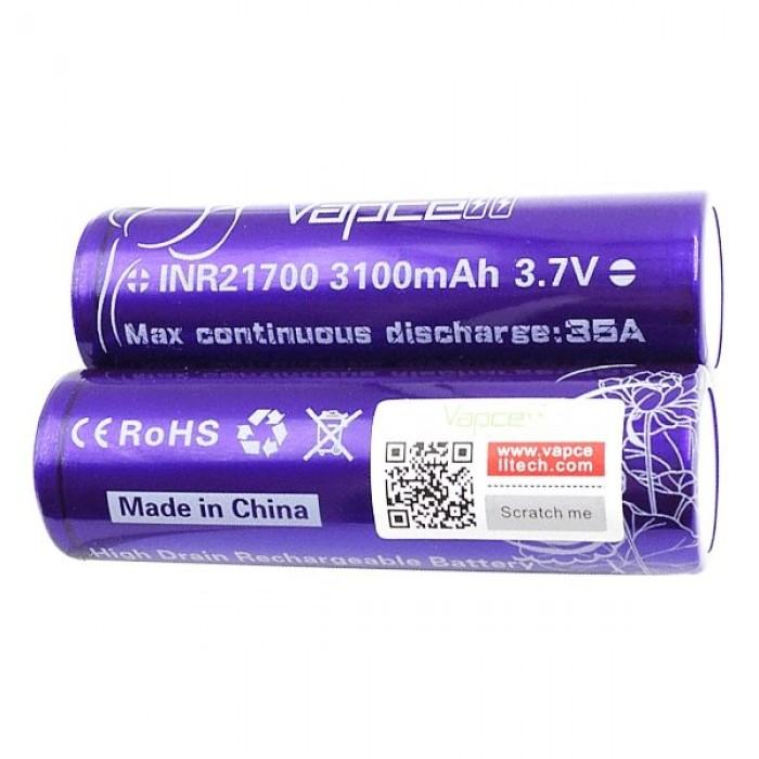 Vapcell 21700 Battery 35A 3100mAh Purple