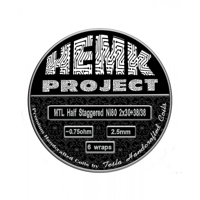 Hemk Project Ni80 MTL Half Staggered Prebuilt Coil 0.75Ohm